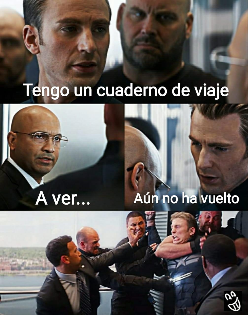 Meme Capitán América cuaderno de viaje