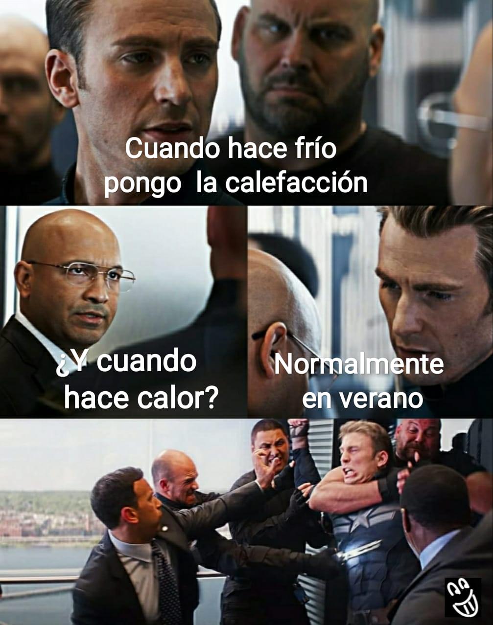 Meme Capitán América Calefacción verano