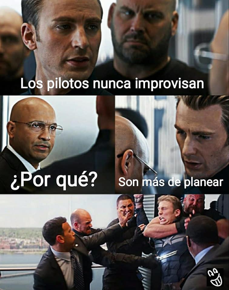 Meme Capitán América Pilotos no improvisan
