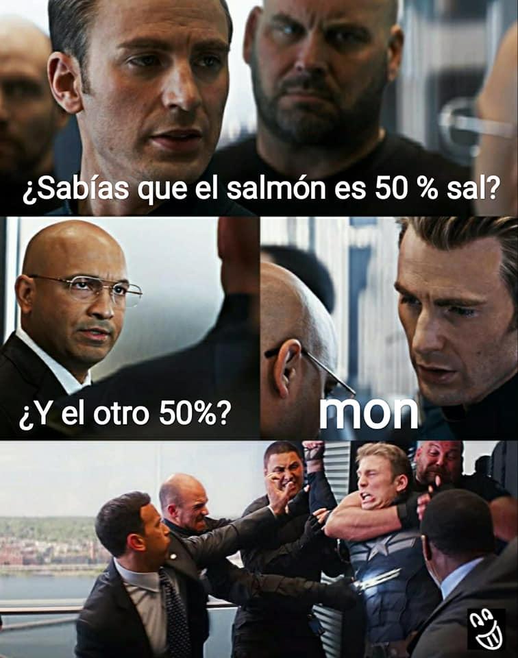 Meme Capitán América salmón 50 por ciento sal