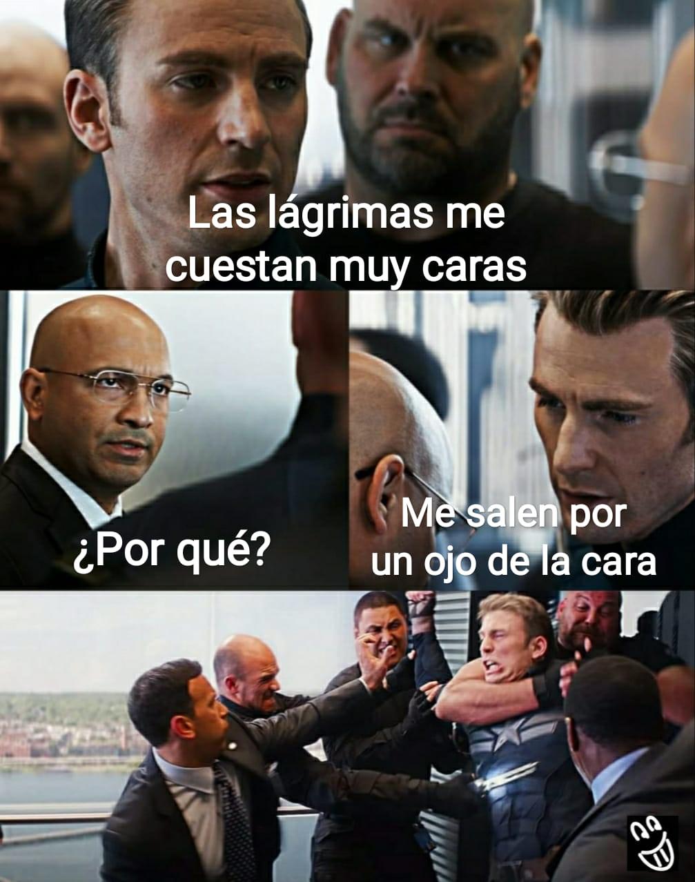 Meme Capitán América lágrimas caras ojo de la cara